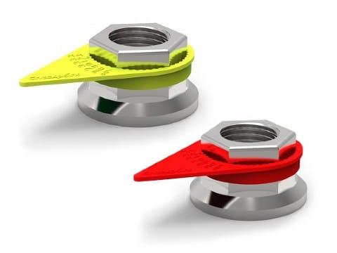 Hjulmutterindikatorer gul og rød. Illustrasjon